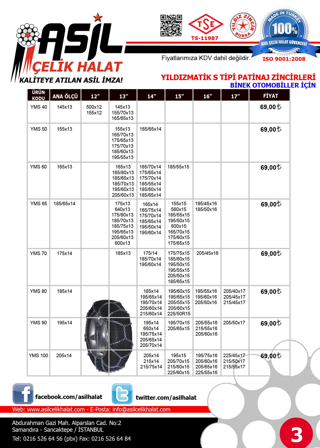 3 2014 2015 Kar Zinciri Patinaj Zinciri Fiyat Listesi Binek Araclar